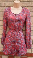 FLORENCE & FRED DUSTY PINK PAISLEY TIE NECK BELTED LONG SLEEVE TOP BLOUSE 12 M