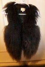 Grey Black Genuine Natural Tibetan Mongolian Sheep Fur Yak Sherpa Vest S