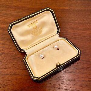 ANTIQUE MIKIMOTO 18K YELLOW GOLD & PEARL BUTTON SET W/ ORIGINAL BOX