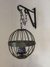 (2) Wrought Iron Hanging Globe Shaped Candle Holders With Hangers.