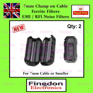 2 Qty Black Clip On Clamp RFI EMI Noise Filters Ferrite Core For 7mm UK Seller