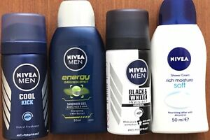 NIVEA Men Deodorant Spray Energy Mini Shower Soft Shower Cream. Travel Sizes