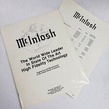 McIntosh Vintage 62 PAGE Audio Catalog 1970'S WITH 1979 PRICE LIST