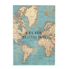 Cuaderno de viaje vintage mapa del mundo A5 Bloc de Notas Papel Liso sin forro diario De Regalo