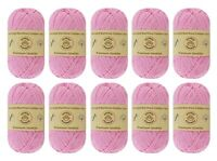 "10-pack Set ""Pink"" Worsted Bamboo Cotton Yarn Skein - Premium Quality"