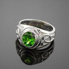 Natürlich Peridot Edelstein Mit 925 Sterlingsilber Ring für Herren #1396