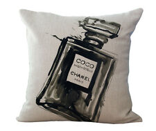 Vintage Style Black Perfume Bottle Linen Cushion Cover Case  45x45cm Home Decor