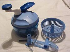 Tupperware Quick-Chef blau, Messer mit 3 Klingen, mit Siebeinsatz