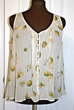 Winter Kate Fay Silk Printed Sheer Top blouse XS ivory sleeveless Hi-Low NWT$225