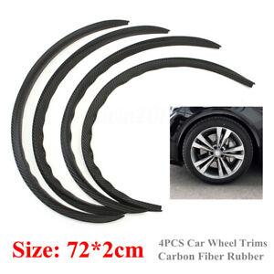 "4PCS 28.7"" Carbon Fiber Car SUV Wheel Eyebrow Arch Trim Lips Fender Flares Trim"