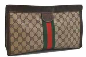Authentic GUCCI Web Sherry Line Clutch Bag GG PVC Leather Brown Beige E1491
