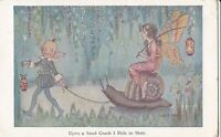 Hilda Miller Fairy PC    Fairy rides on a snail pulled by pixie