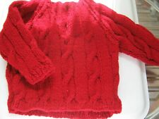"Hand Knitted Baby JUMPER - RED with cable twists, 18"" chest,  V neck **NEW**"