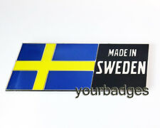NEW Enamel Chrome Made In Sweden Flag Swedish Car Badge Saab Volvo