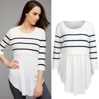 Women Maternity Pregnant Nursing Baby Long Sleeved Striped Blouse Clothes Tops