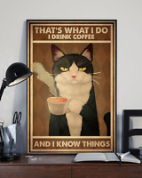 Tuxedo Cat Drink Coffee And Know Things Art Print Wall Decor Poster No Frame HOT