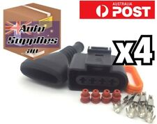 4 Set VW Audi Ignition Coil Connector & Ribbed Boot 1J0973724 Golf R8 A4 A6 A8
