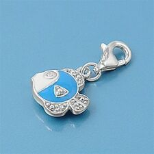 Blue Fish Pendants Sterling Silver 925 Fashion Children's Charms Jewelry Gift