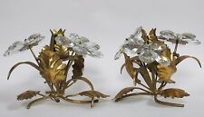 Fabulous Vintage Italian Tole & Crystal Flower Candlesticks~w/'Italy' Tag~Ex.Cd