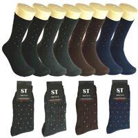 3-12 Pairs Men ST Dots Cotton Casual Mid Calf Dress Socks Size 10-13