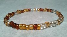 Glass bead brown gold clear bracelet stretchable