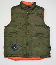 New Polo Ralph Lauren Men's Reversible Puffer Down Vest Size Small Orange/Green