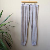 Bella Dahl Gray Striped Terry Cloth Drawstring Pocket Jogger Pants, size L Large