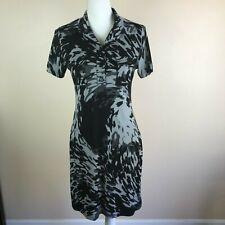Enfocus Studio Womens Dress Size 6 Gray Black Button Front