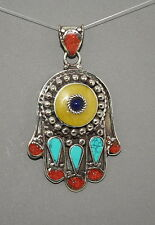Turquoise pendant Amber Pendant Hamsa Pendant Tibet Pendant Nepal Pendant Coral