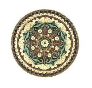 Vtg Boho Mandala Brass Byzantine Enamel Mosaic Cloisonné Wall Plate Cottagecore