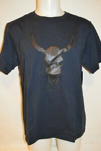 DANIEL WON Man's LEATHER BULL SKULL T-Shirt  NEW  Size Large  Retail $125