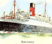 RMS Ascania Cruise Ship Ocean Liner Marine Art Posters Vintage Art Postcard