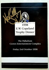 MAGPIES SIGNED COPELAND TROPHY DINNER MENU NATHAN BUCKLEY 1998