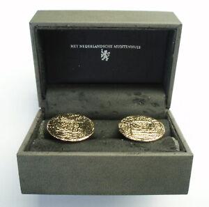 NETHERLANDS VOC ZEELAND DUIT COINS 1750-1786 CUFFLINKS Gold Plated. B11