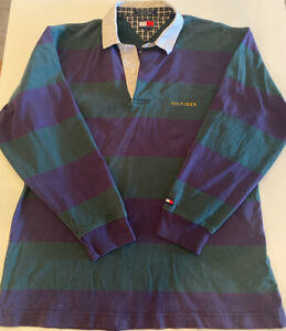 Tommy Hilfiger Rugby Polo Shirt Long Sleeve Sz L Green/Blue Striped