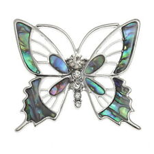 Blue Green Abalone / Paua Shell Butterfly Brooch