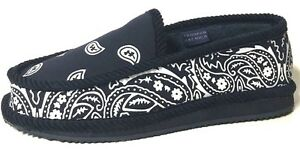 Trooper America Navy Blue White Bandana Canvas/Corduroy Slippers House Shoes