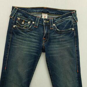 True Religion BILLY Womens STRETCH Jeans Low Rise W28 L33 Blue Regular Bootcut