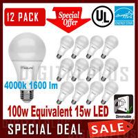12 Pack LED Light Bulbs Maxlite 15W Cool White 4000K A19 E26 Base 100W Replaceme