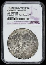 1733 Netherlands Overyssel Ducaton (Silver Rider) NGC-AU Details