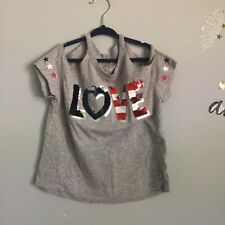 Justice girls  Size 8 Love Shirt Red Gray Blue 4th of July Glitter EUC! Summer