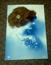 1920 BEAUTIFUL GLAMOUR GIRL WITH REAL HAIR NOVELTY POSTCARD SUPERB