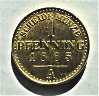 1 Pfennig 1865 A Brandenburg/ Preußen Wilhelm I.(1861-1888) Kupfer vergoldet vz