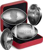 2017 Football-Shaped Curved Convex Canada Coin $25 1OZ Pure Silver Proof.