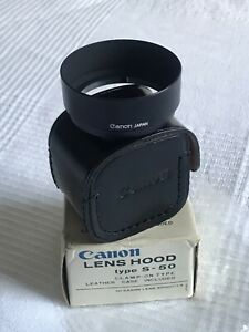 Extremely RARE *MINT* DEADSTOCK CANON lens Hood S-50 All Black + Leather Case
