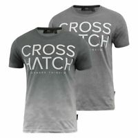 Mens Crosshatch T-Shirt Contrast Short Sleeve Tee Top Slenford