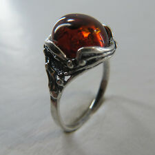 Size 8 (EU Size 57) Cognac / Brown BALTIC AMBER Ring, 925 STERLING SILVER #2498