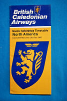 British Caledonian Airways - Quick Reference Timetable - North America - 1982