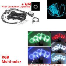 6M RGB Car LED EL Strip Light Interior Kit Atmosphere Lamp Rope Tube Bluetooth