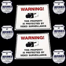 2 Home Security Camera Yard Signs+6 Adt'L Brinks Decals